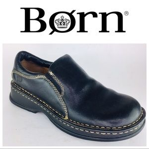 Born Black Leather Loafers Slip Ons